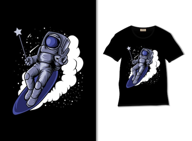 Astromagic surfing in the sky illustration with tshirt design
