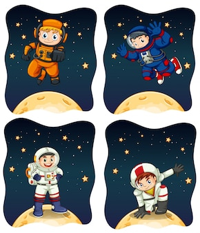 Astronaunts flying in the space