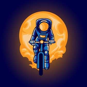 Astronaut adventure with riding a bicycle illustration