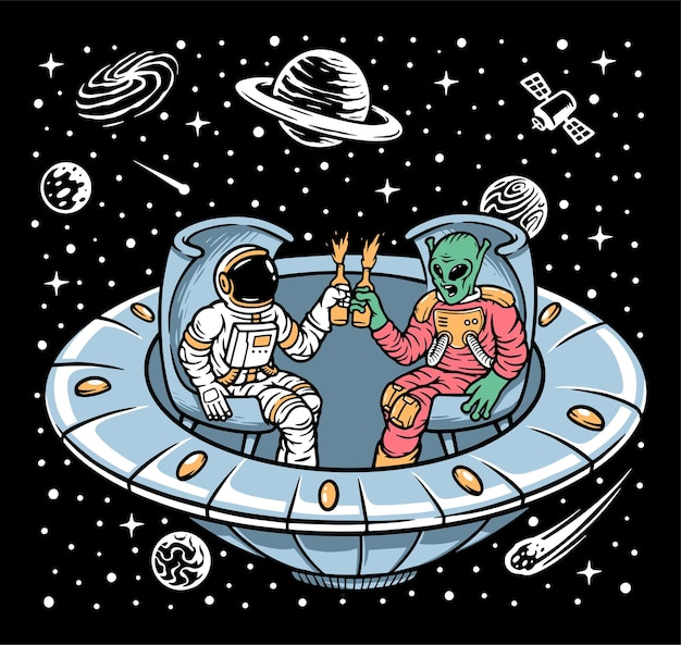 Astronaut and alien chill together inside ufo illustration