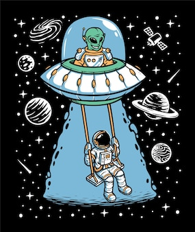 Astronaut and alien playing together illustration