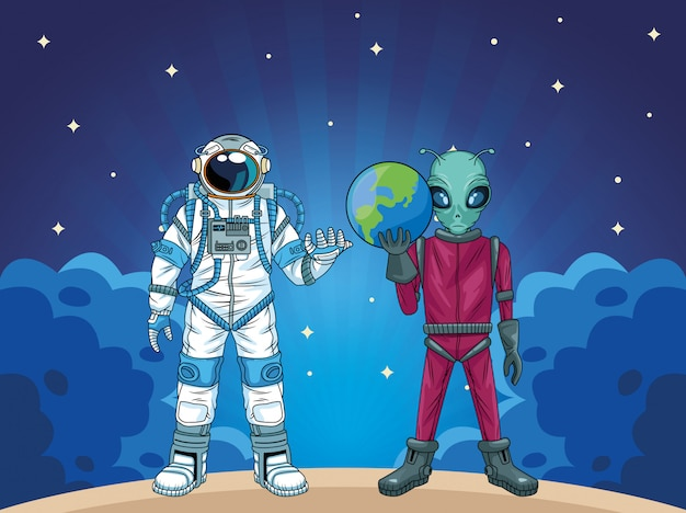 Astronaut and alien in the space characters  illustration