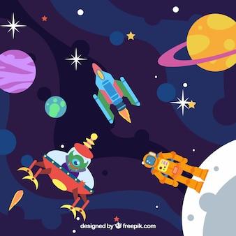 우주 비행사와 외계인 배경