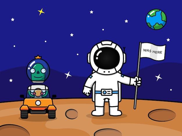 Астронавт и инопланетянин на планете марс