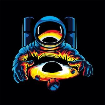 宇宙飛行士とブラックホールのイラスト