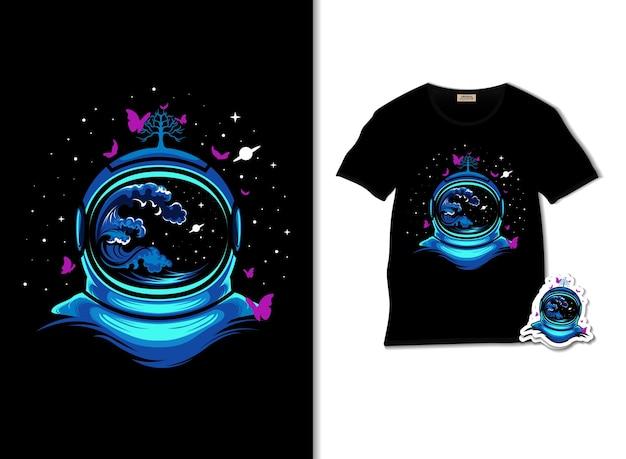宇宙飛行士と蝶のイラストとtシャツのデザイン