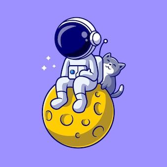 宇宙飛行士と月のかわいい猫漫画ベクトルアイコンイラスト。科学動物アイコンコンセプト分離プレミアムベクトル。フラット漫画スタイル