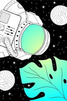 ファンタジー宇宙の宇宙飛行士とモンステラの葉