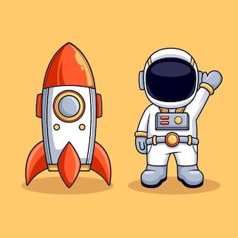 Астронавт и ракета милый талисман векторные иллюстрации