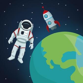 地球惑星を見る宇宙飛行士とロケット