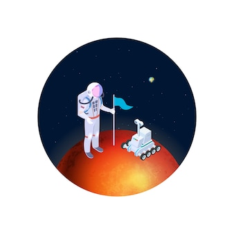 Астронавт и вездеход на марсе векторные иллюстрации. изометрические космонавта в скафандре с флагом на красной планете. колонизация марса векторной концепции
