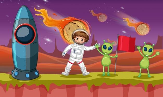 奇妙な惑星の宇宙飛行士と2人の宇宙人