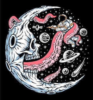 Astronaut attacked by moon monsters illustration