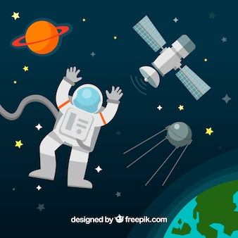 Astronaut background in space