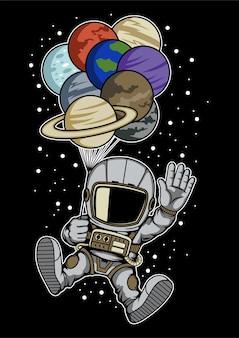Astronaut balloon planets