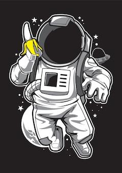 Астронавт и банан иллюстрация талисман