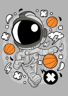Astronaut basketball illustration