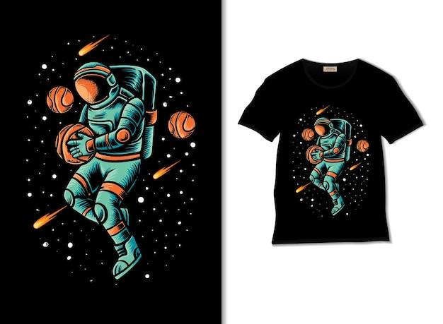 티셔츠 디자인으로 우주 비행사 농구 애호가 그림
