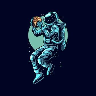 Astronaut basketball slam dunk on space   illustration
