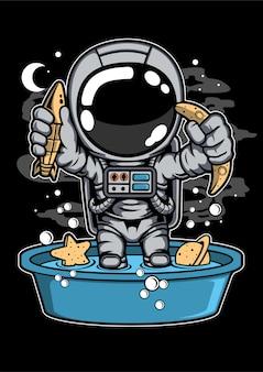 宇宙飛行士の浴槽の漫画のキャラクター