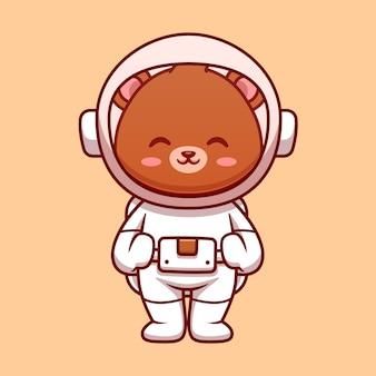 우주 비행사 곰 우주 비행사 만화 벡터 아이콘 그림입니다. 과학 기술 아이콘 개념 절연 프리미엄 벡터입니다. 플랫 만화 스타일