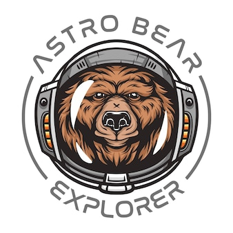 Astronaut bear,wild animal wearing space suit wild animal  illustration for t-shirt