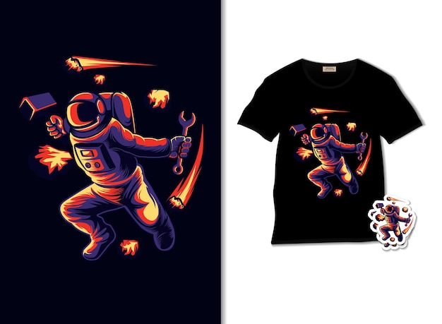 Astronaut block meteors illustration with t shirt design