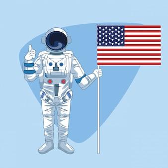 Astronaut over blue