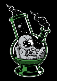 Astronaut bong cartoon character
