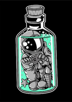 Astronaut in the bottle cartoon character
