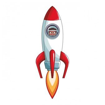 Astronaut boy in rocket