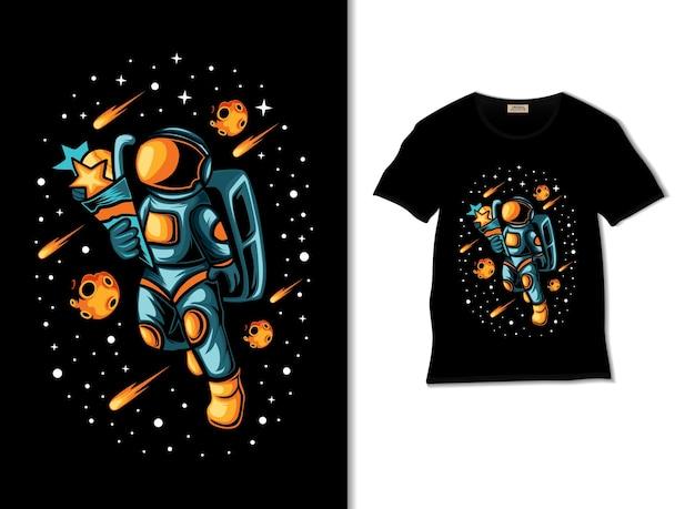 Астронавт приносит иллюстрацию подарков с дизайном футболки