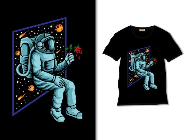 Astronaut brings the rose illustration with t shirt design
