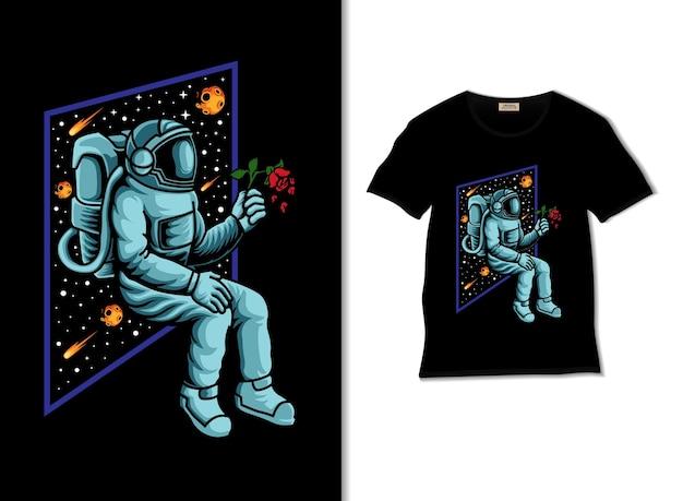 우주 비행사는 티셔츠 디자인으로 장미 그림을 가져옵니다.