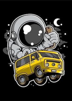 Astronaut car racer cartoon character
