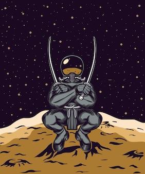 우주 비행사는 달에 두 개의 칼을 들고