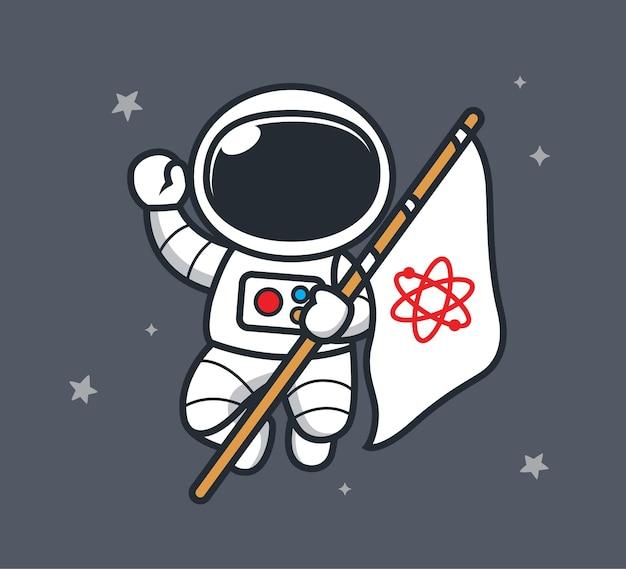 Космонавт несёт флаг в космосе