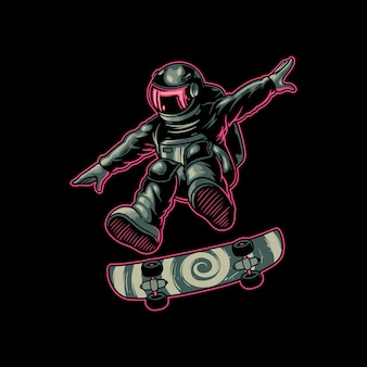 Astronaut cartoon character playing skateboard