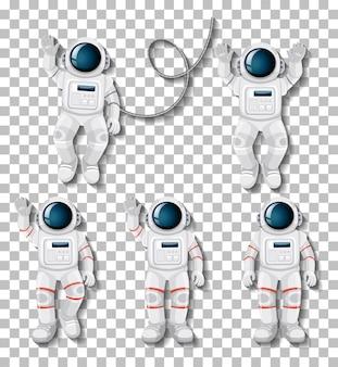 Astronaut cartoon character set on transparent background