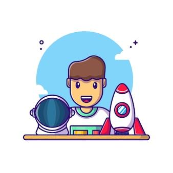 宇宙飛行士の漫画イラスト。労働者の日の概念白分離。フラット漫画スタイル