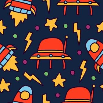 우주 비행사 만화 귀여운 낙서 원활한 패턴 디자인