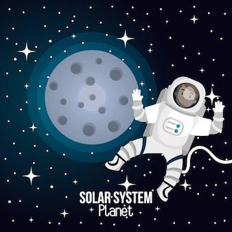 Astronaut cartoon space isolated