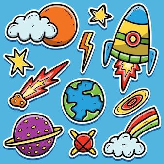 우주 비행사 만화 스티커 디자인