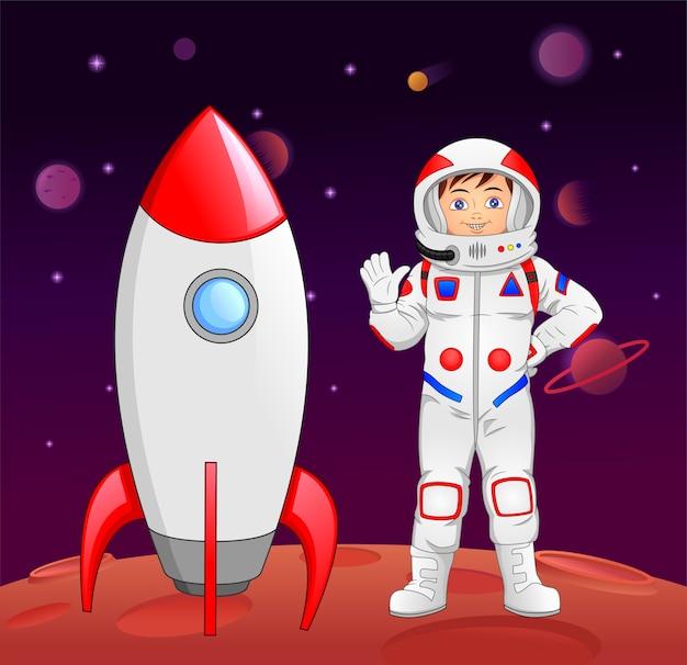 Мультипликационный космонавт, машущий рукой, прибыл на планету марс