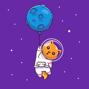 Astronaut cat flying with balloon   icon illustration. mascot cartoon character. animal icon concept isolated