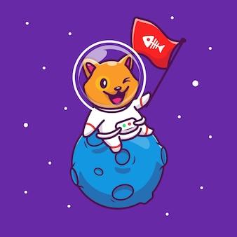 Astronaut cat holding fish flag   icon illustration. mascot cartoon character. animal icon concept isolated