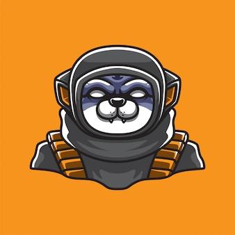 宇宙飛行士の猫のマスコットロゴ