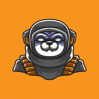 Astronaut cat mascot logo