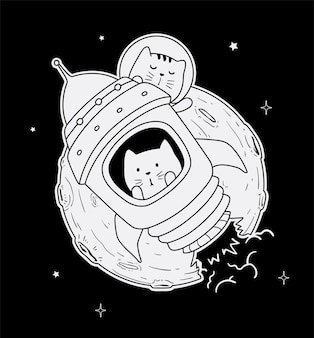 Astronaut cat to the moon