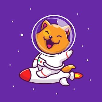 Астронавт cat езда на ракете значок иллюстрации. талисман мультфильма животное иконка концепция изолированные
